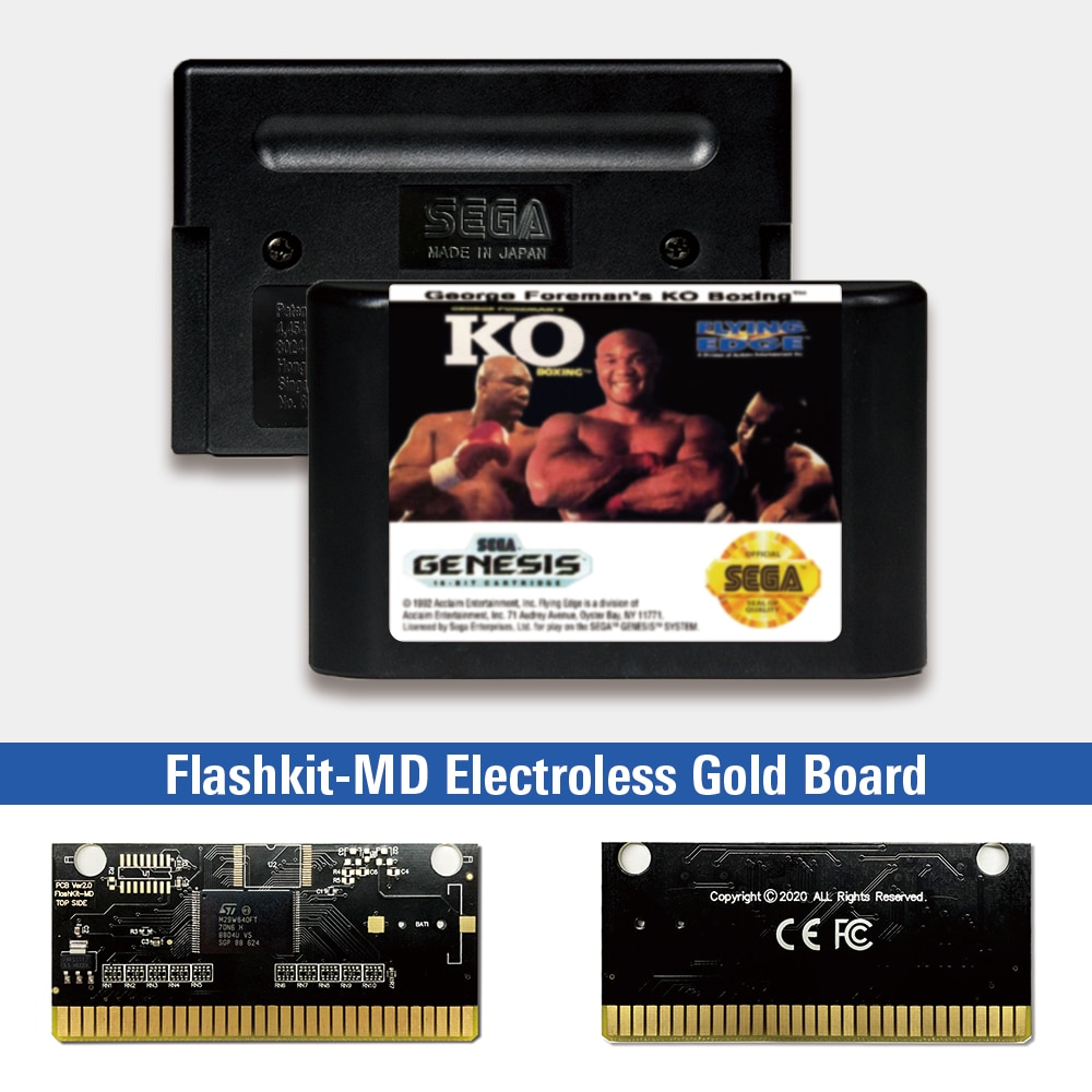 George Foreman's KO Boxing - USA Label Flashkit MD Electroless Gold PCB Card for Sega Genesis Megadrive Video Game Console