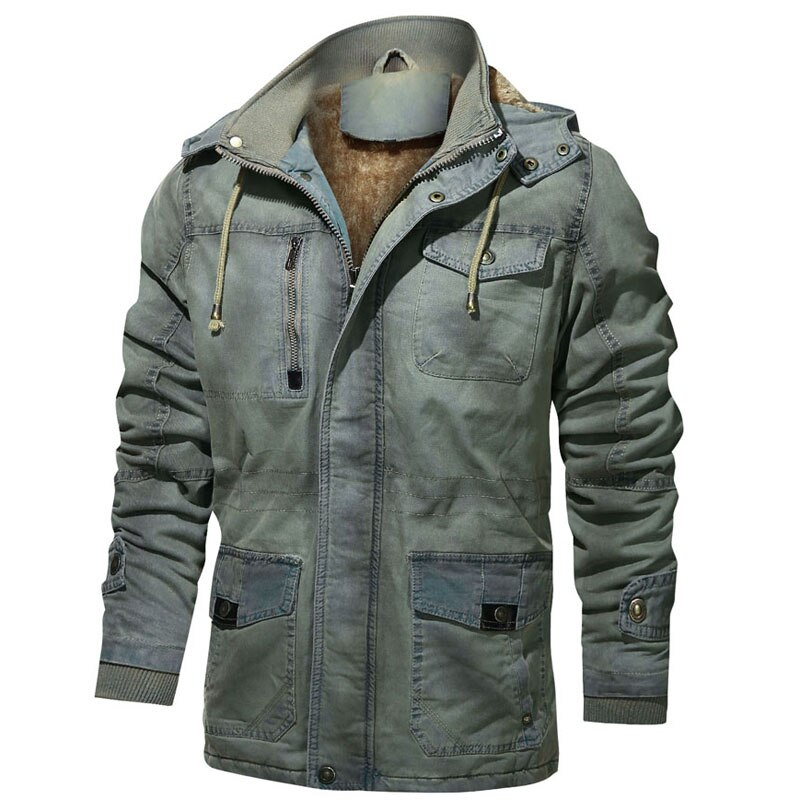 Winter jacket men Casual Mid-length trench Thick Fleece Hooded windbreaker 98% cotton Retro Jacket warm canada Coat Men clothing