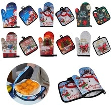 Kitchen Anti-Hot Gloves Christmas Microwave Glove Potholder Gloves Mitts for BBQ Insulation Gloves Hot Oven Mitts Baking