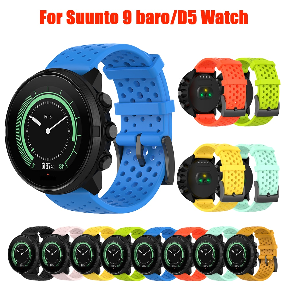 watchband for suunto 9 peak suunto 3 watch strap band soft silicone wristband bracelet replace accessories new Silicone Rubber Watch Strap For Suunto 9/9 baro/ D5/Suunto 7 Watch 24mm Watchband Spartan Watch Band HR Bracelet accessories