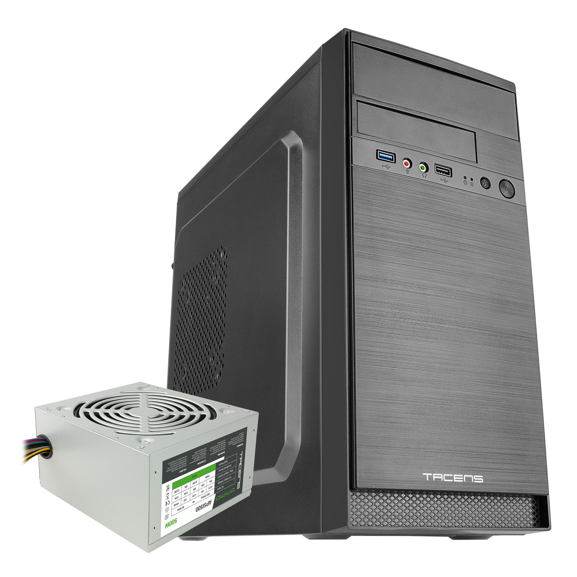 Tacens Anima AC4500, caja de PC + Fuente 500W, minitorre, MicroATX, acabado aluminio, USB 3.0