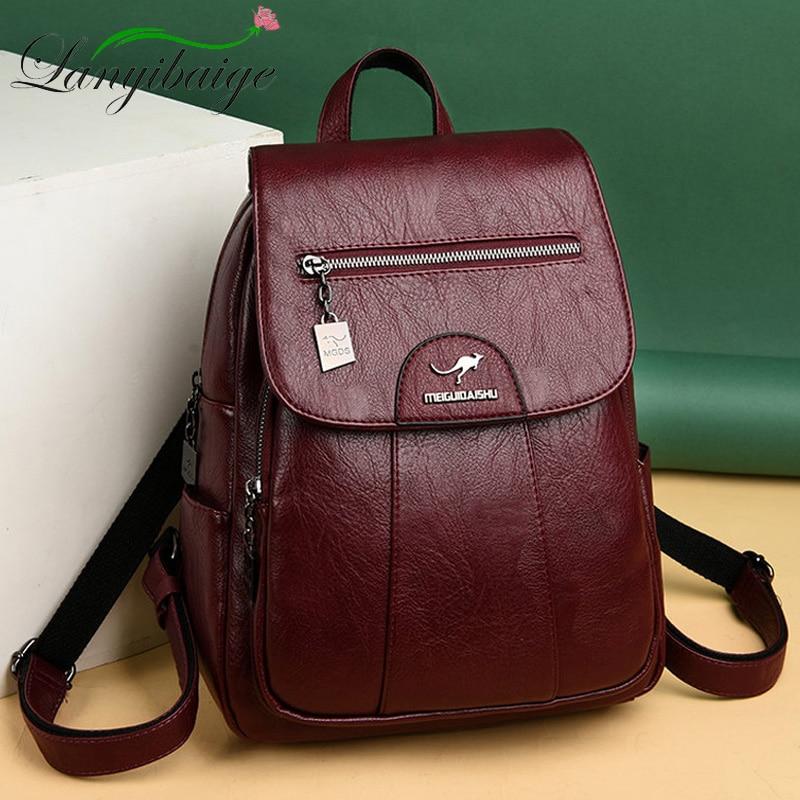 حقيبة ظهر نسائية جلدية عتيقة ، حقيبة مدرسية ، حقيبة سفر ، حقيبة ظهر نسائية ، جودة عالية ، 2020