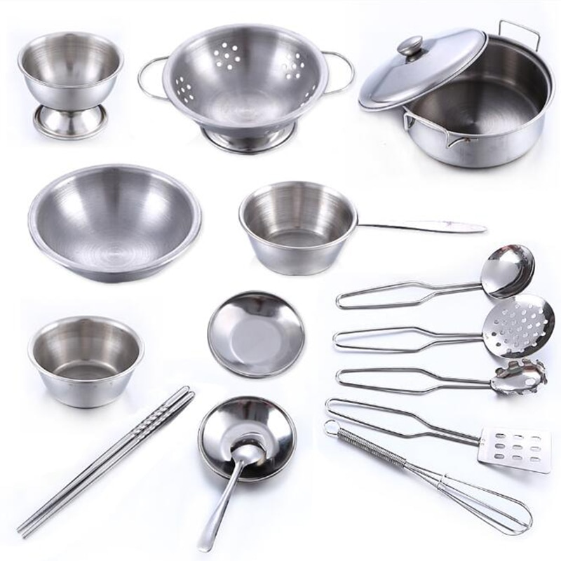 16pcs/Set Stainless Steel Kids House Kitchen Toys Cooking Cookware Pots Pan Children Pretend Play Kitchen Playset недорого