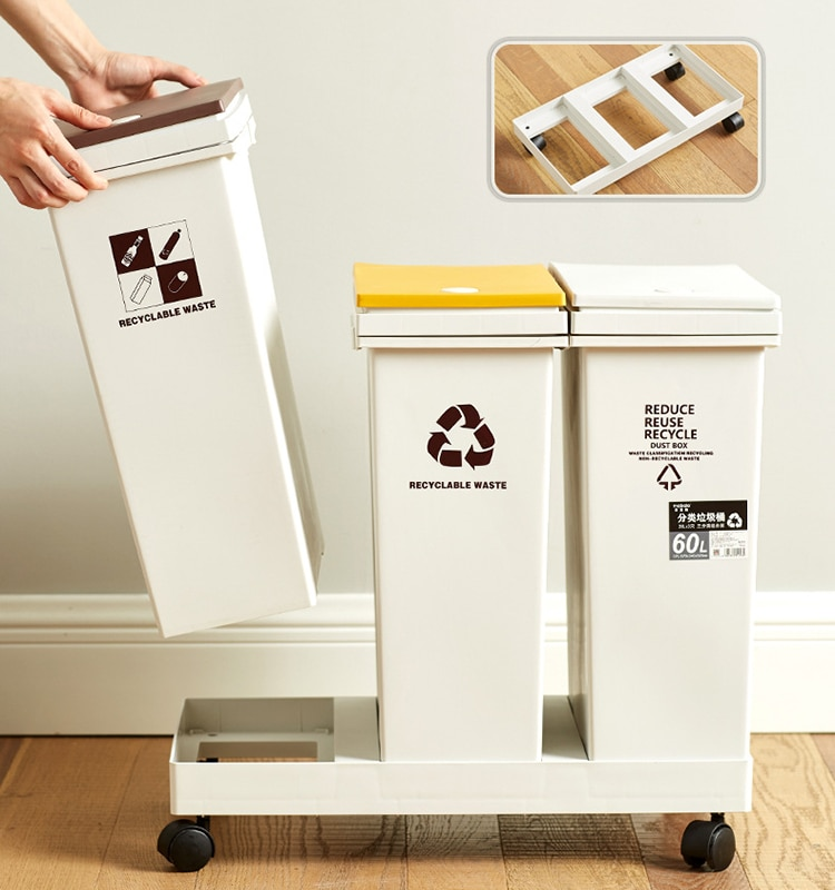 Recycling Bins Trash Can Luxury Kitchen Modern Large Garbage Sorting Trash Bin Kitchen Accessories poubelle Storage BC50TB