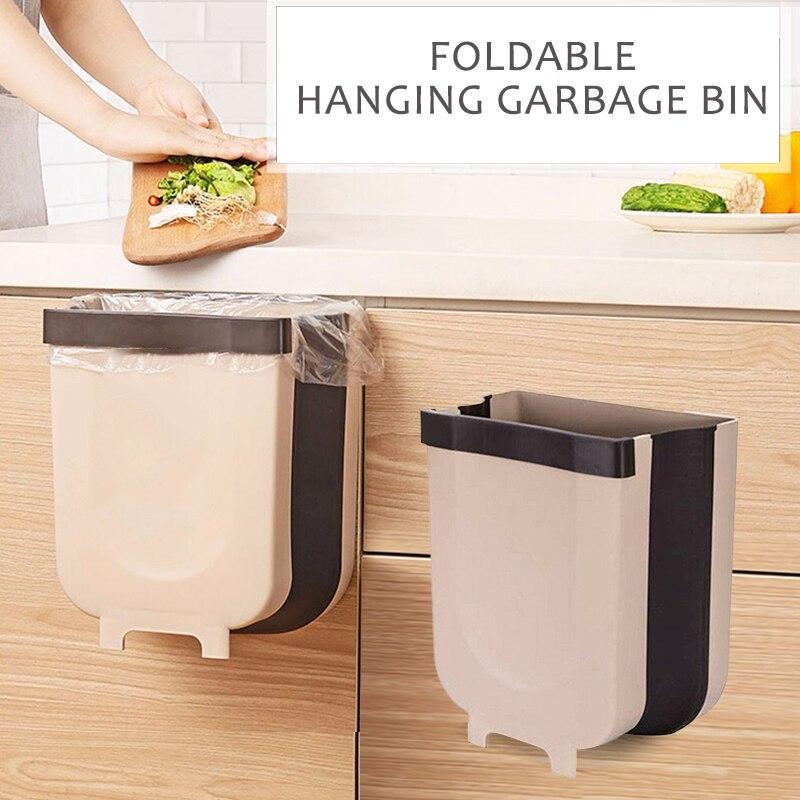 Wall Mounted Folding Waste Bins Kitchen Cabinet Door Hanging Trash Bin Portable for Car Trash Bathroom Toilet Waste Storage