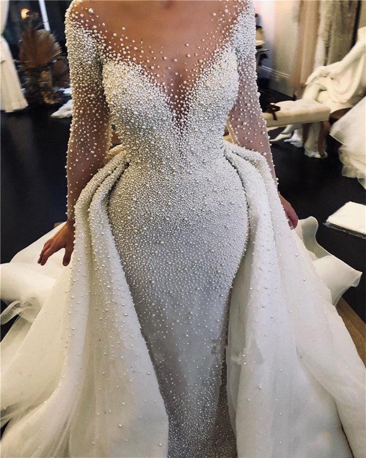 فستان زفاف حورية البحر مطرز باللؤلؤ ، فستان زفاف عتيق بأكمام طويلة مع ذيل قابل للفصل ، مقاس كبير ، للعرب السعودية