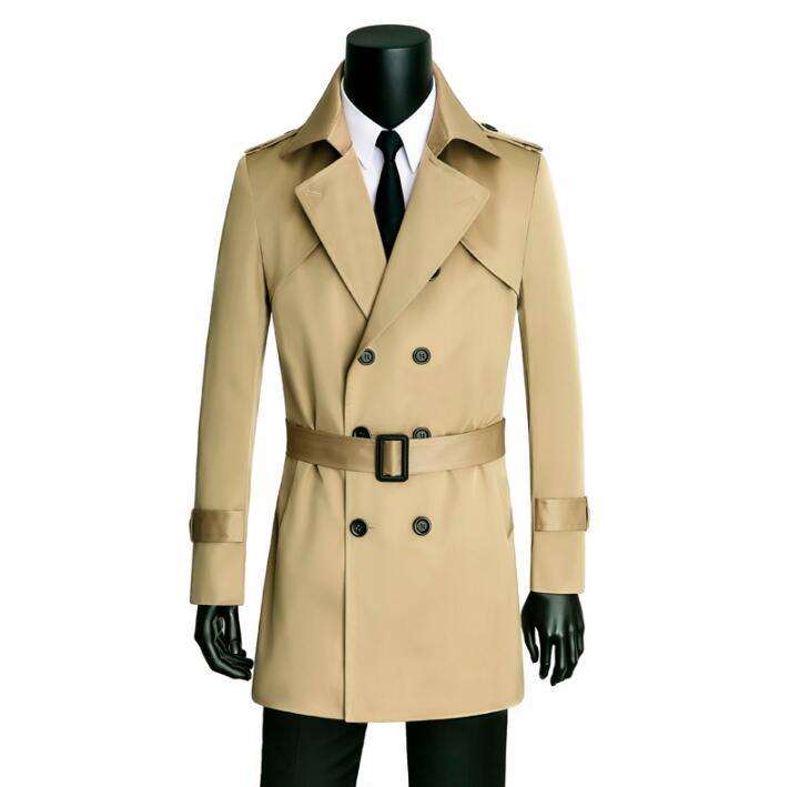 معطف واق من المطر كاكي للرجال ، ملابس مزدوجة الصدر ، معطف إنجليزي ضيق بأكمام طويلة ، مصمم جديد لفصلي الربيع والخريف