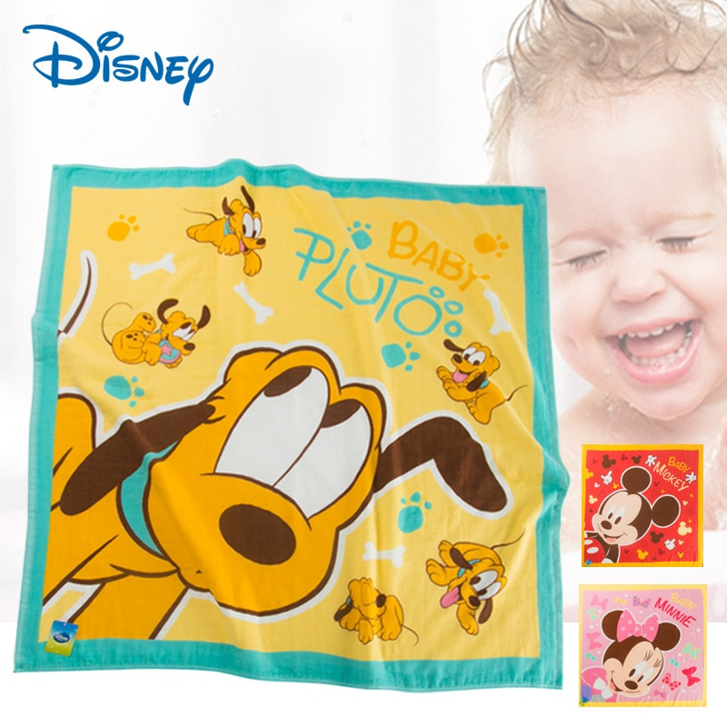 полотенца bebitof baby детское банное полотенце с уголком 75х75 Оригинальное милое квадратное банное полотенце Disney с Микки и Минни, хлопковое Марлевое детское банное полотенце с героями мультфильмов