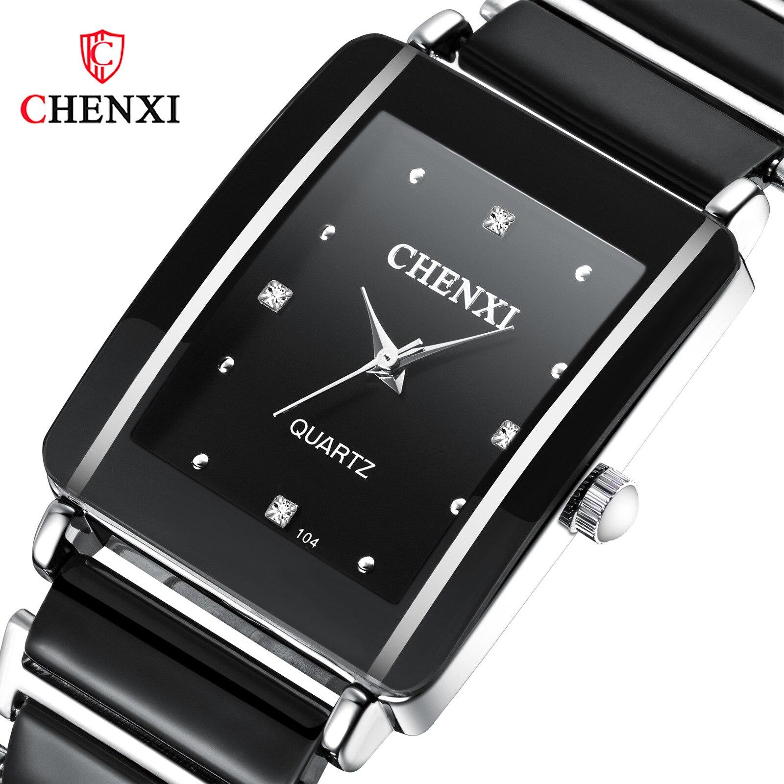 Relojes rectangulares de pareja de cerámica de cuarzo moda, relojes de moda cortos ultrafinos con reloj de pulsera de diamantes