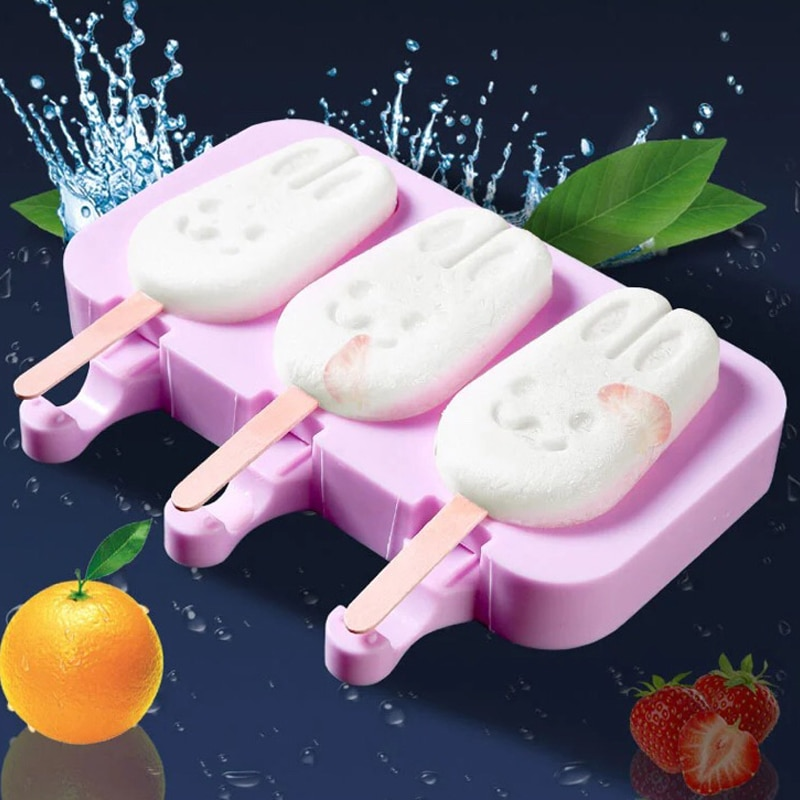 1PC Silicone Ice Cream Mold Reusable Popsicle Molds DIY Homemade Cute Cartoon Ice Cream Popsicle Ice Pop Maker Mould недорого