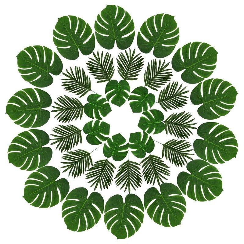 36 Uds. 3 tipos hojas de palmera artificiales plantas tropicales hojas de imitación Safari hojas hawaianas Luau fiesta proveedores decoraciones
