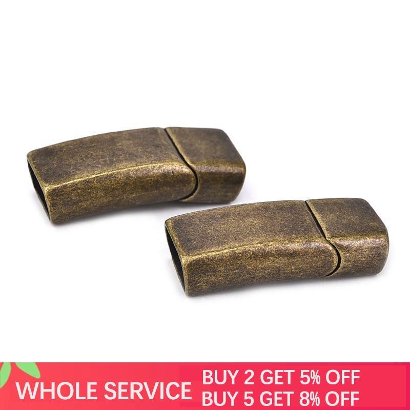 2 pçs/set Bronze Aço Inoxidável Ímã Fivela Magnética Fechos Conectores Descobertas Componentes Acessórios de DIY 32.5x13.3MM