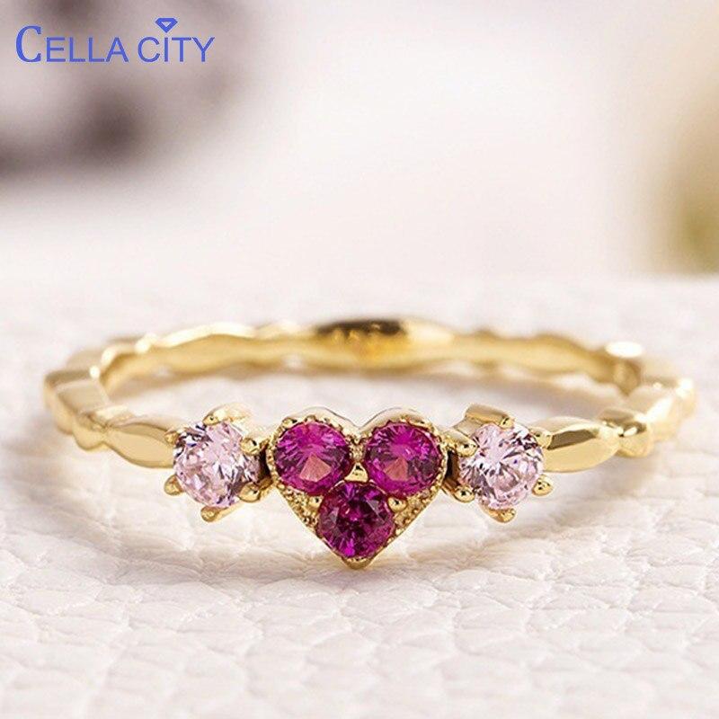 Anillo de joyería de plata de Cellacity 925 con forma de corazón piedra preciosa de corindón rojo joyería fina de lujo para mujer talla al por mayor 6- 10