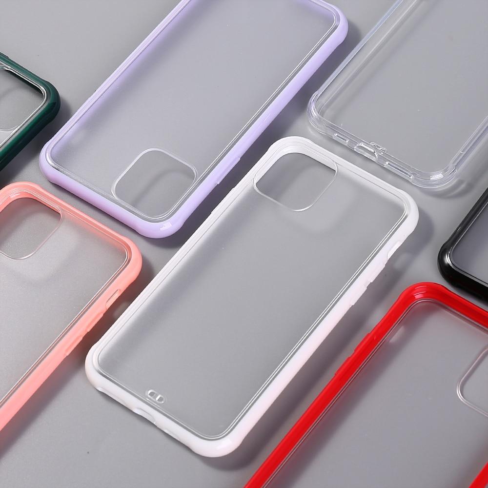 Funda de teléfono transparente mate para iPhone 11Pro Max XR X XS Max 8 7 6 6splus Marco de silicona Anti choque acrílico claro duro PC cubierta