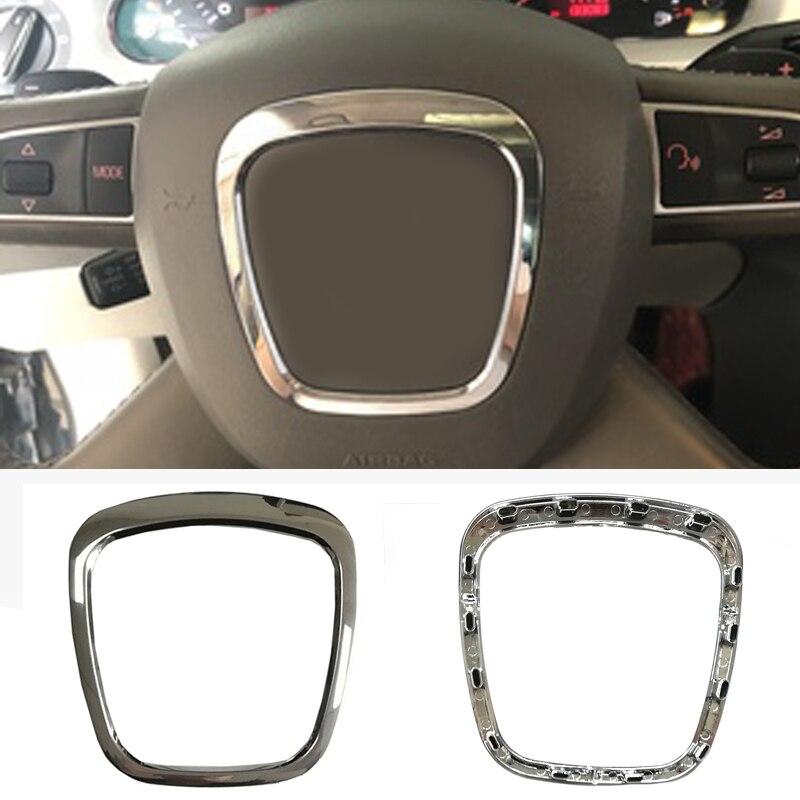 Coche cromo ABS embellecedor para volante de emblema marco etiqueta accesorios para automóviles para Audi A3 8P S3 A4 B6 B7 B8 A5 A6 C6 Q7 Q5