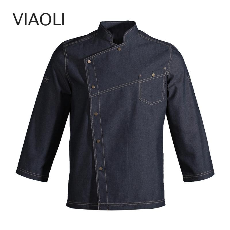 new Long Sleeve Denim Fabric Chef Jacket Wholesale restaurant uniforms shirts chef clothes chef restaurant uniform hotel uniform