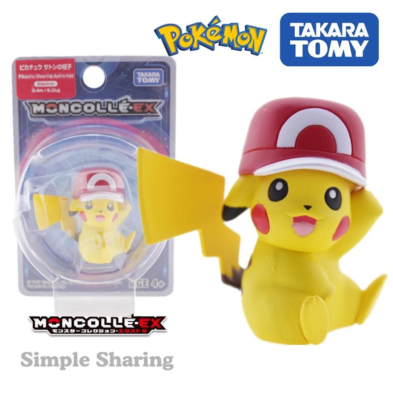 Takara tomy pokemon mc moncolle-ex 53 pikachu arora boné tomica 3-5cm mini bolso monster coleção sun & moon figura brinquedo