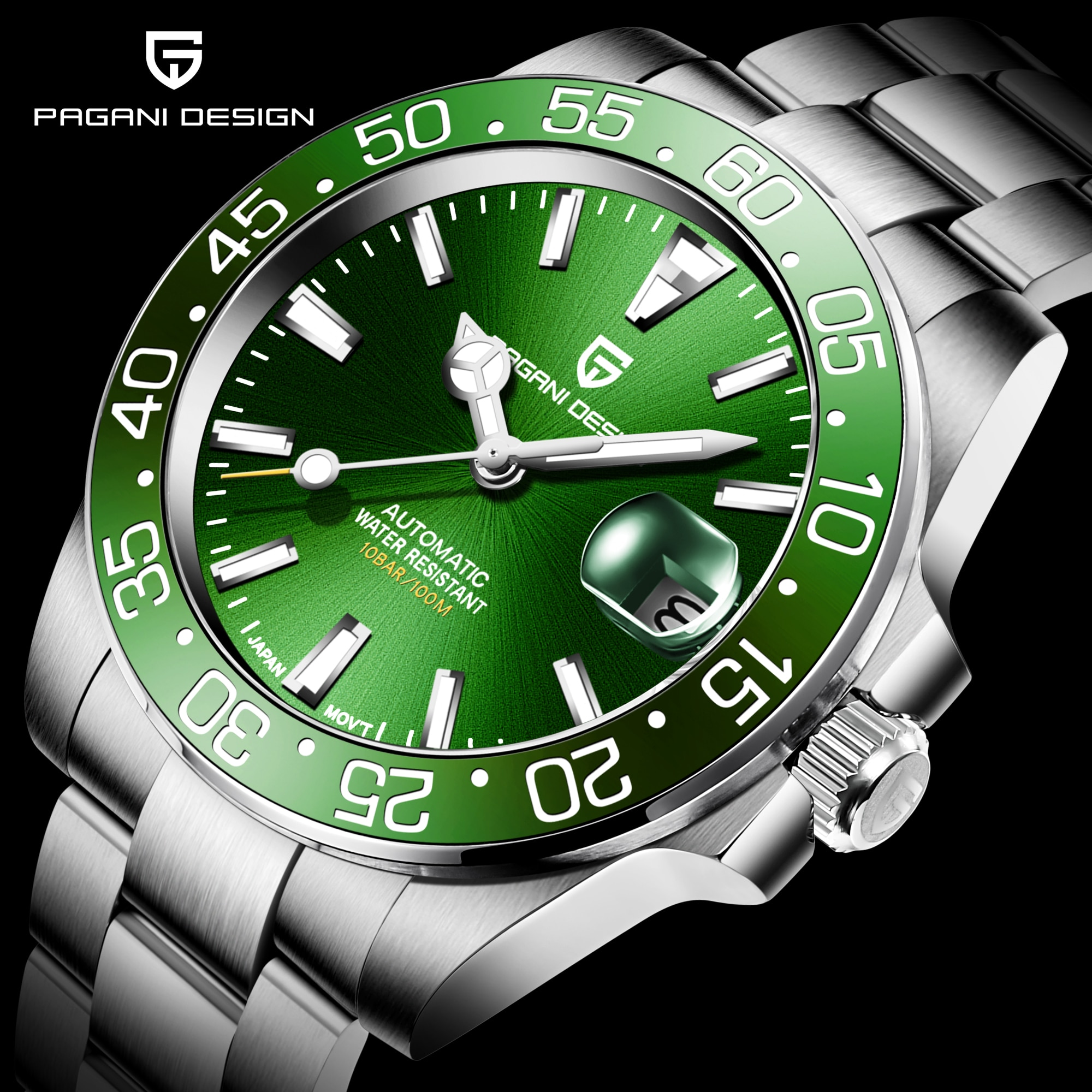 PAGANI DESIGN-ساعة أوتوماتيكية من الياقوت للرجال ، ساعة من الفولاذ المقاوم للصدأ NH35 ، مقاومة للماء حتى 2020 متر ، ميكانيكية ، 100