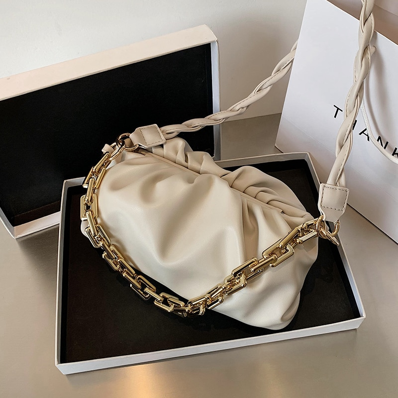 Elegant Weave Chain Cloud Bag Women Shoulder Bags 2020 New Quality Pleated Day Clutch Purse Women's Designer Handbag Armpit Bag