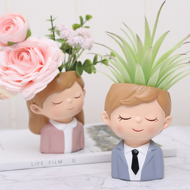 Home Garden Desktop Decor Couple Boys & Girls Flower Succulent Plants Pot Gift
