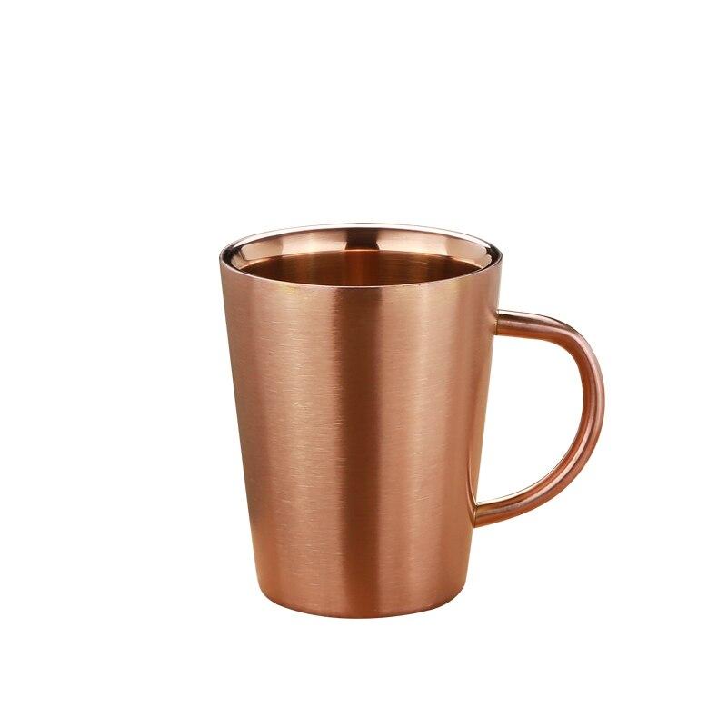 Taza de cerveza de acero inoxidable de grado FDA 340ml taza de agua de café con empuñadura de doble pared Drinkware oro plata oro rosa