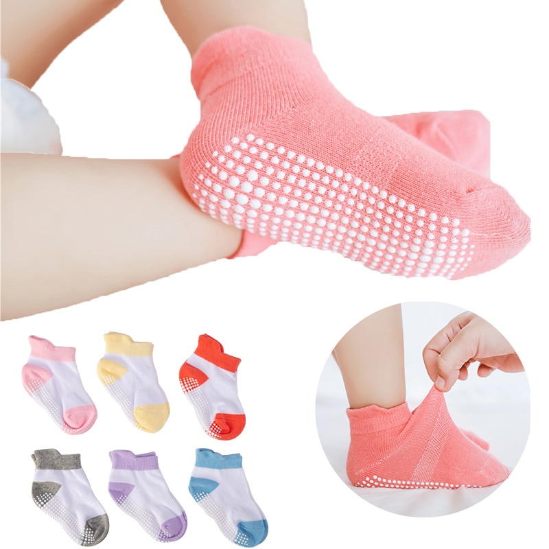 6 Pairs/lot 0 to 6 Yrs Cotton Baby 's Floor Socks Boys Girls Non-slip Boat Low Cut Sock With Rubber Grips Four Season