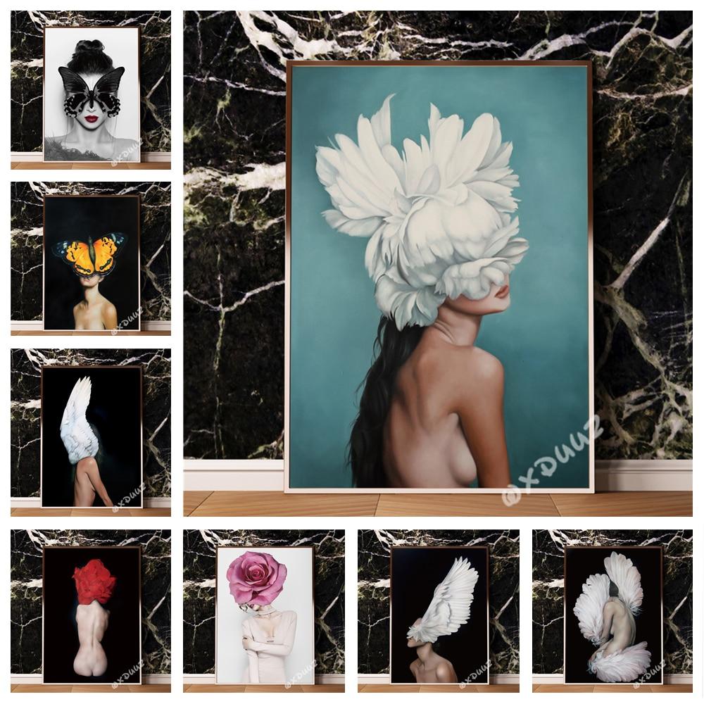 Decoración de arte de la pared femenina desnuda moderna nórdica, cartel de pintura de alta calidad, material de lona, flores de Paloma o214