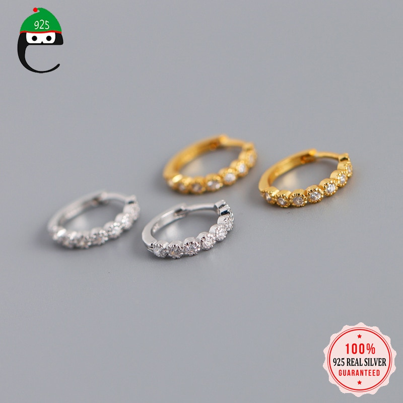 Минималистичные круглые серьги-кольца ElfoPlataSi из стерлингового серебра 925 пробы с геометрическим цирконием для женщин, модные украшения для вечеринок, аксессуары DA778