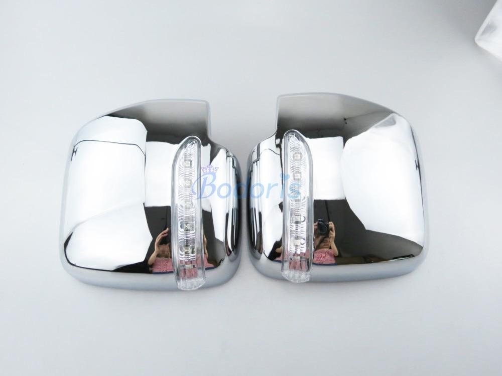 Cubierta de espejo de puerta de ala lateral, superposición de Vista trasera con lámpara LED 2005-2018, estilo cromado para coche, accesorios para Toyota Hiace