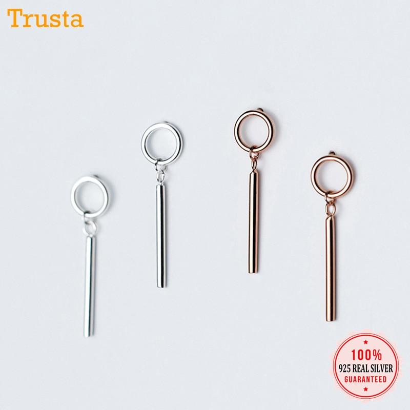 Trustdavis 2019 100% 925 Solid Real Sterling Silver Round Stick Stud Earrings Xmas Gift For Teen Girls Women Fine Jewelry DA216