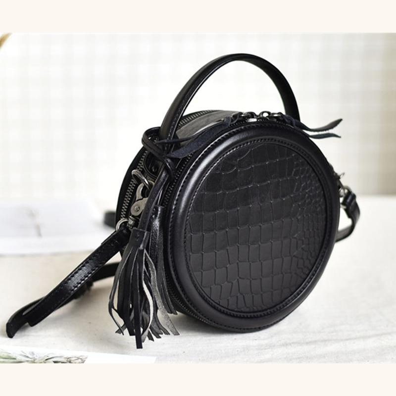 Bag for women Genuine Leather Crossbody Bag Small Round bag Luxury Handbag 2021 Designer Ladies classic Shoulder Bag  - buy with discount
