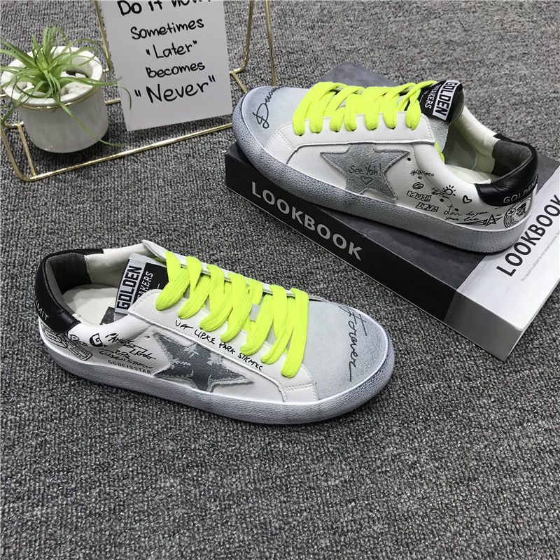 2021Net Red Same Style Graffiti Small Dirty Shoes Female Spring Retro Old Hand-painted Star White Shoes SneakersShoes Woman Vans