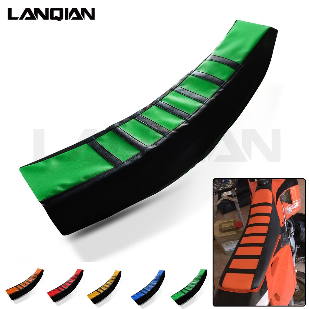 Motorcycle Leather Striped Seat Cover For Kawasaki KX KLX KDX 65 85 100 125 250 250 F 450 F R 125 250 SR 450F D-TRACKER Parts