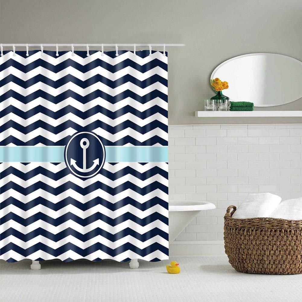 Ancla azul marino y blanca, cortina de ducha con estampado Digital de rayas onduladas, cortina de baño de tela impermeable de poliéster con 12 ganchos, 59x70