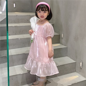 Princess Mommy and Daughter Clothes Family Outfits 2021 New Girls Summer Dress Shiny Fabric Party Clothes Ruffles,#6203