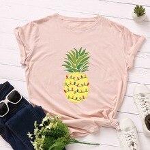 Women T-shirt 2019 Fashion Plus Size Cotton Top Pineapple Print T shirt Female O-Neck Short Sleeve harajuku Tees feminina
