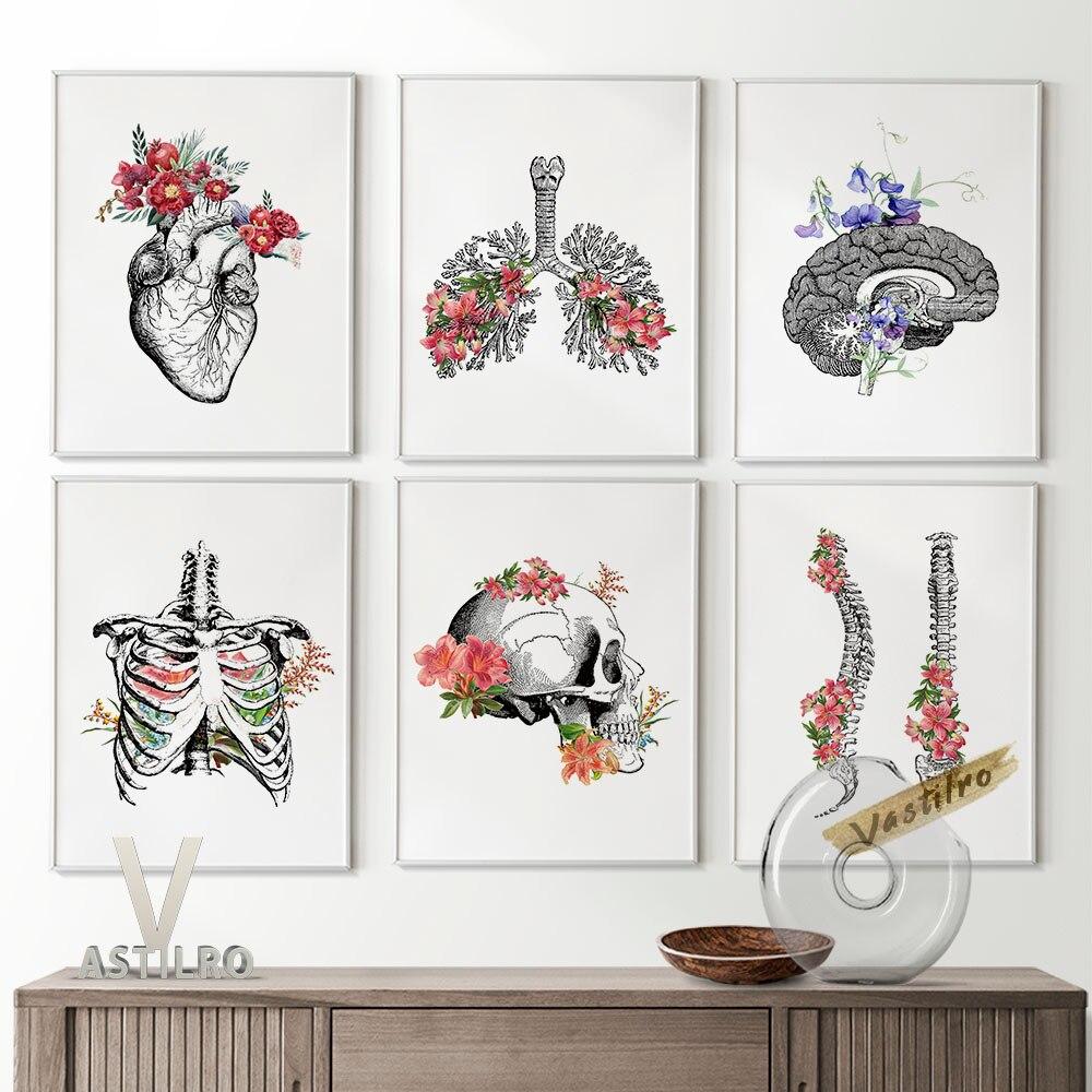 Black White Sketch Anthropotomy Visceral Organ Art Prints Wall Picture Poster Body Skeleton Flowers Skull Studio Home Decor Gift