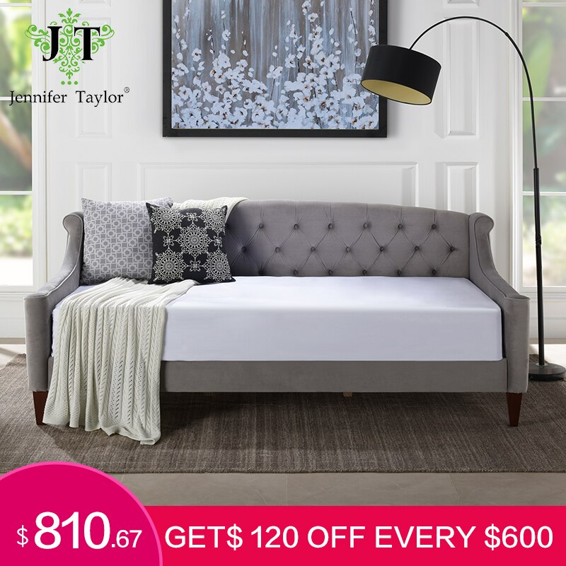 Jennifer Taylor Lucy Furniture Opal Grey Sofa cama americana tapizada con botones tapizados colchón de tela no incluido