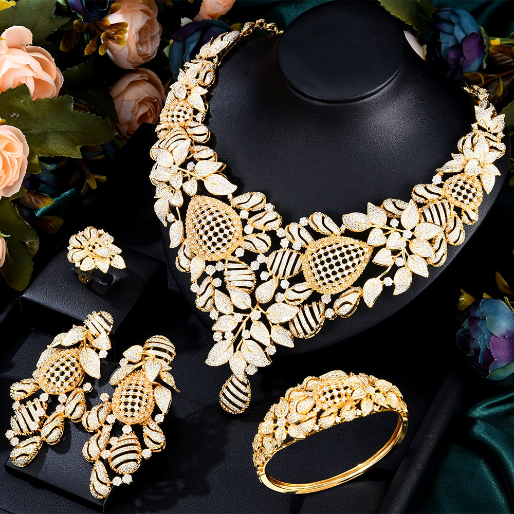 GODKI سوبر كبير الفاخرة 4 قطعة النحل عش الأفريقي مجموعات مجوهرات للنساء الزفاف زركون دبي الزفاف مجموعات مجوهرات و Costum
