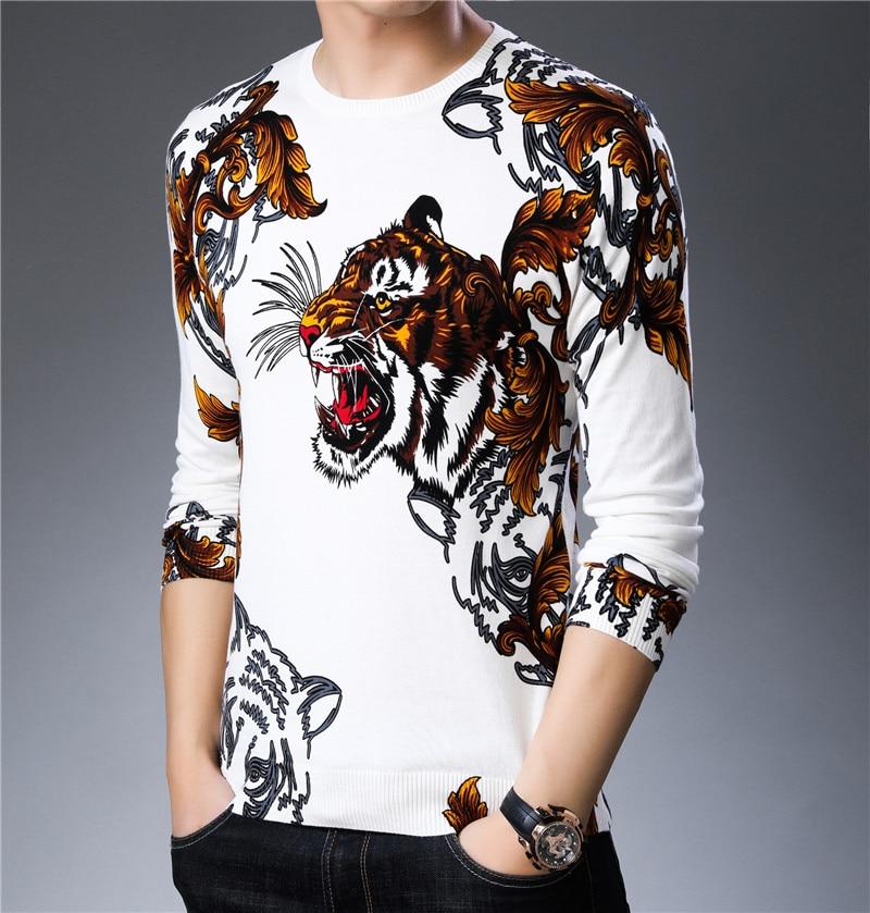 Muster Tiger Kopf Druck Pullover Designer Herren Pullover Sweter Masculino 2020 Frühling Kazak Erkek Trikot Homme Männlichen Pullover