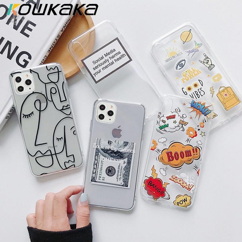 Kowkaka arte abstracto cara funda para teléfono para iPhone 11 Pro Max SE 2020 X XR XS 7 7 6 6s Plus 5s claro de dibujos animados carta suave de TPU