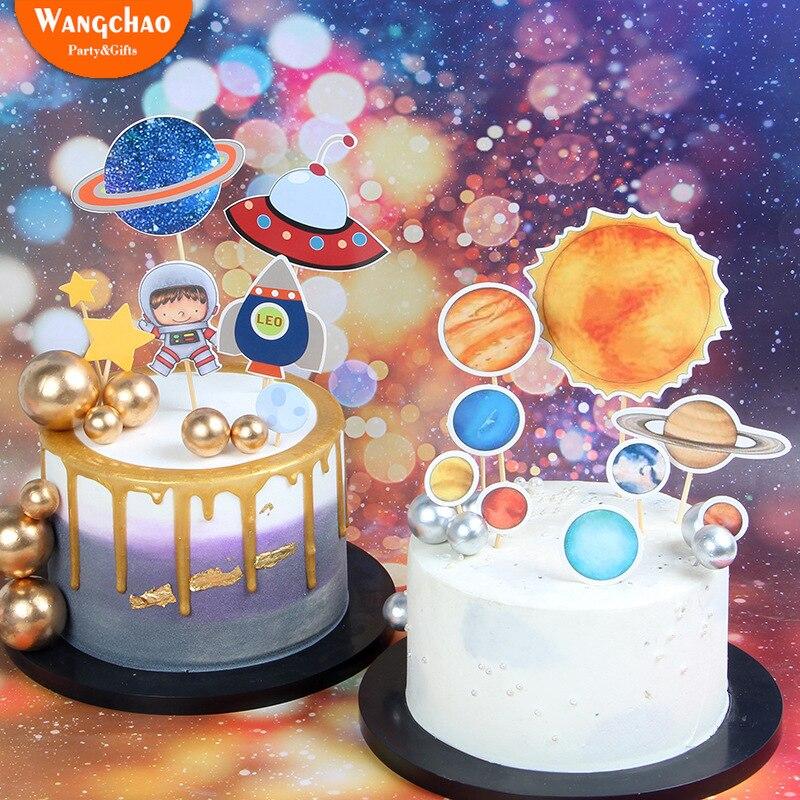 Accesorios para hornear suministros de cumpleaños para niños con temática de planeta soñado estrella astronauta OVNI