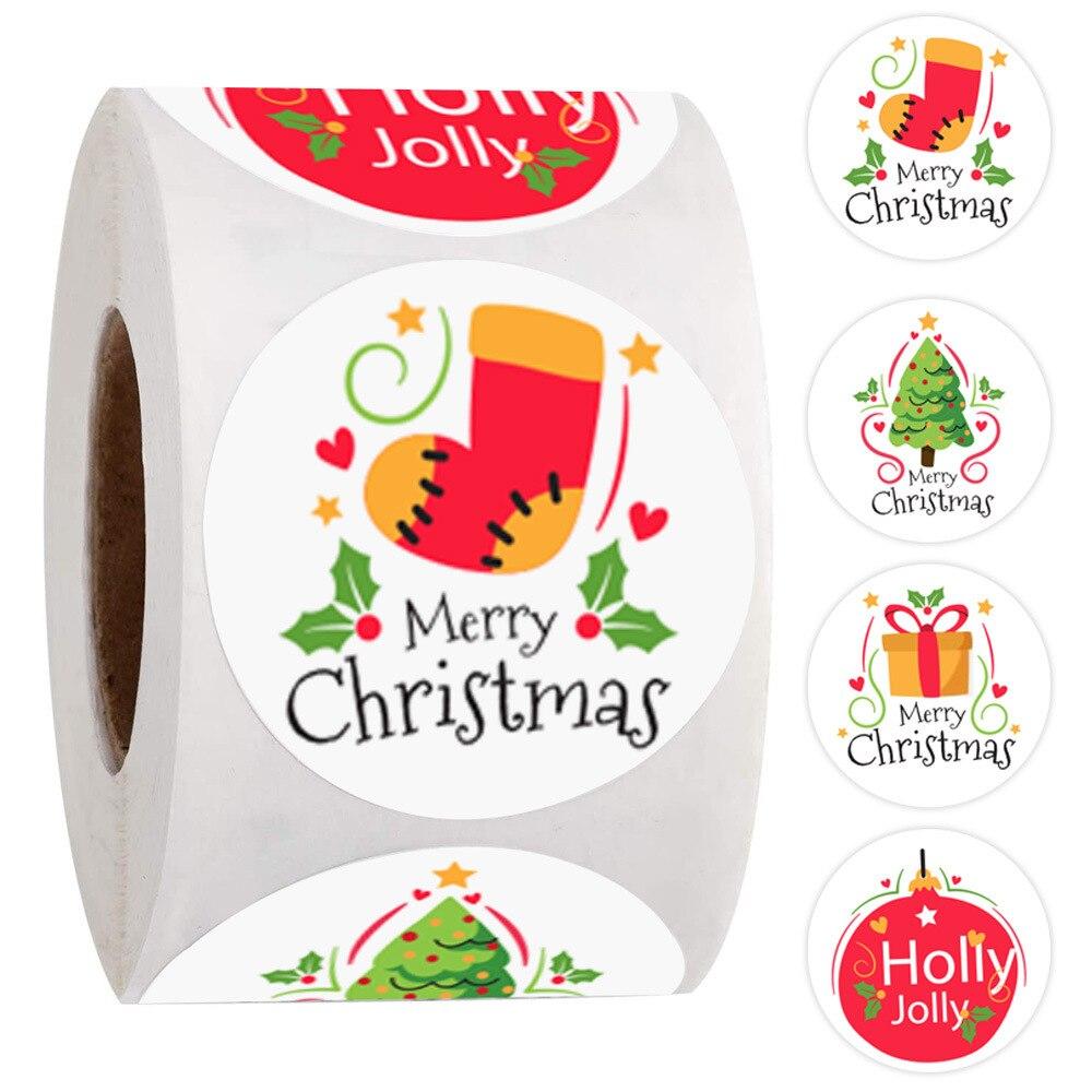 500 pces feliz natal etiquetas redondas etiqueta do natal para o selo do envelope