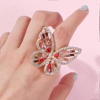 european and american style creative hollow three dimensional diamond inlaid butterfly female ring stylish colored diamond