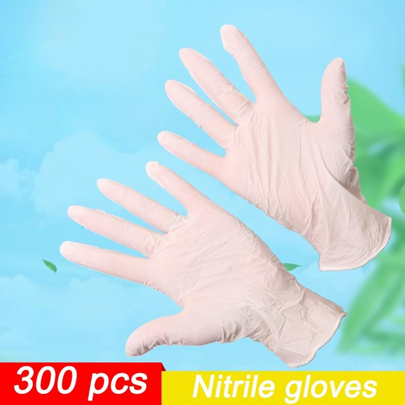 300 Uds guantes desechables de nitrilo blanco antideslizante ácido y álcali laboratorio nitrilo de caucho guantes productos de limpieza del hogar