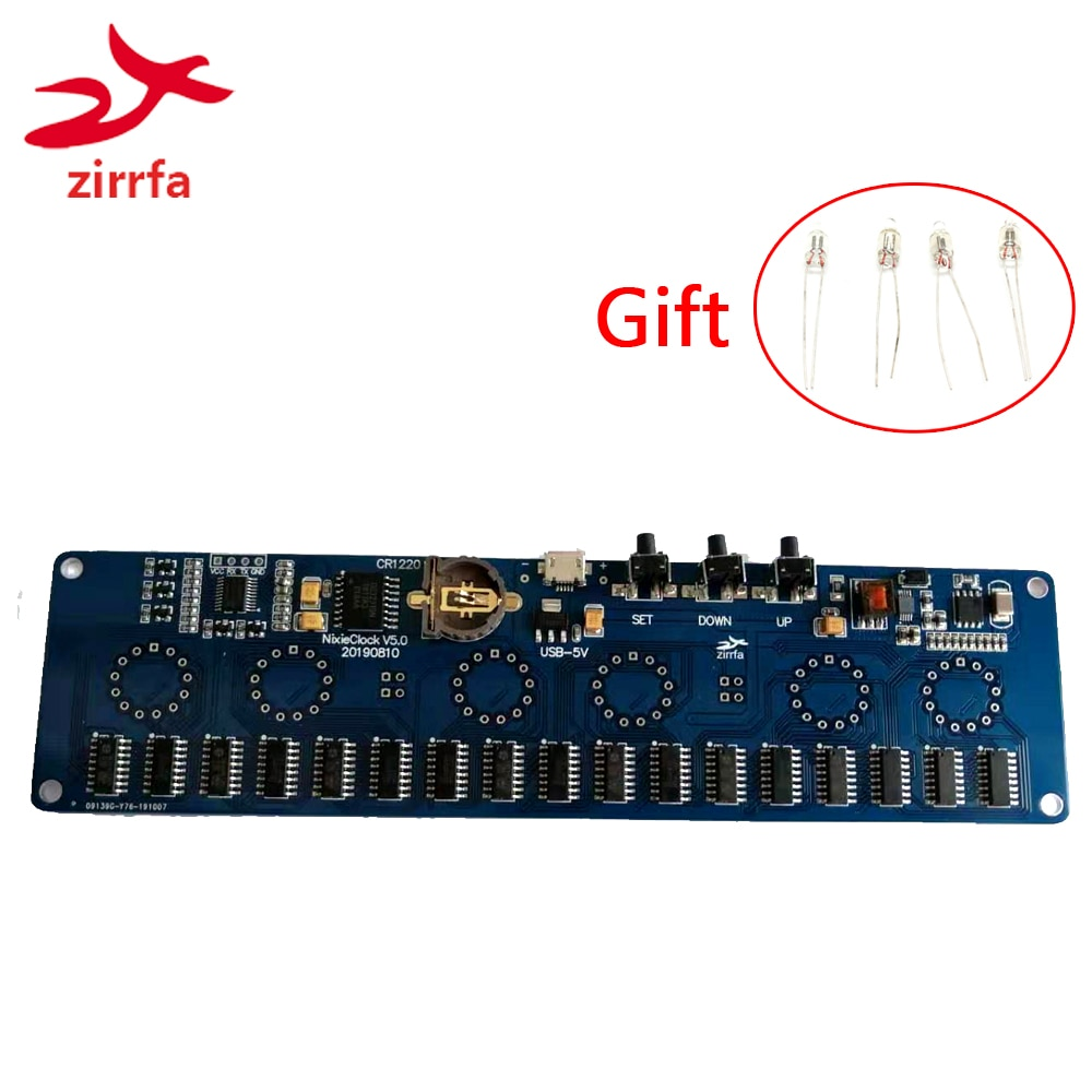 zirrfa 5V Electronic DIY kit in14 Nixie Tube digital LED clock gift circuit board kit PCBA, No tubes