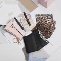 ladies fashion temperament portable pu bank card case passport protective case cute student id storage bag