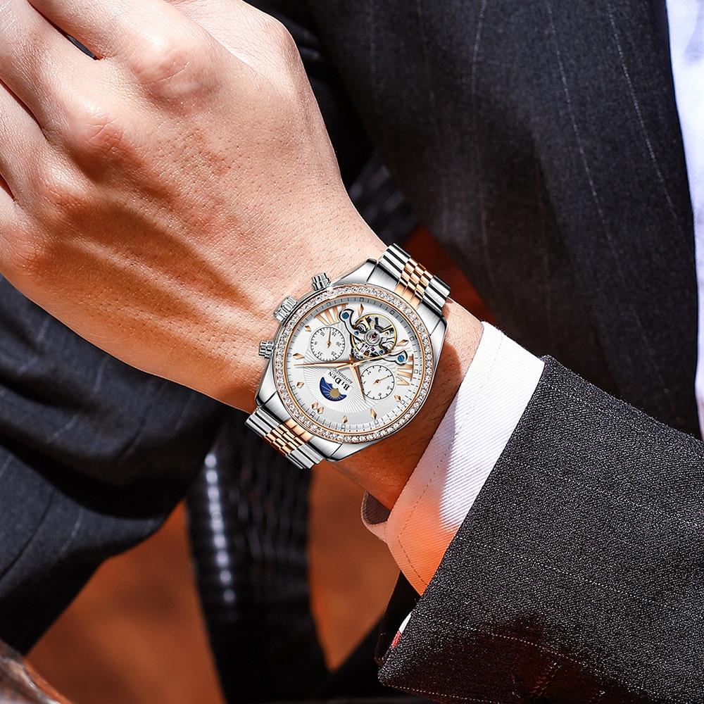 Men Watches Top Brand Tourbillon Full Stainless Steel Automatic Mechanical Watch For Men Waterproof Auto Moon Phase AAA Clocks enlarge