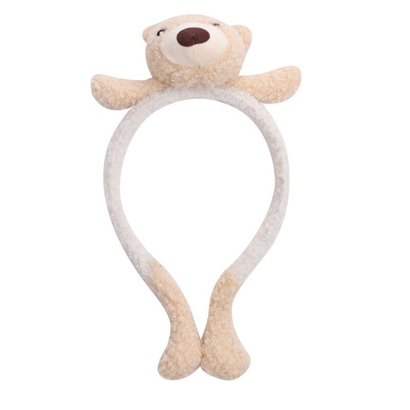 Cute Bear Retro Checks Simple Cotton Hairband Headband for Women Girls Wide Hair Band Head on Female Hair Hoop Band Headwear