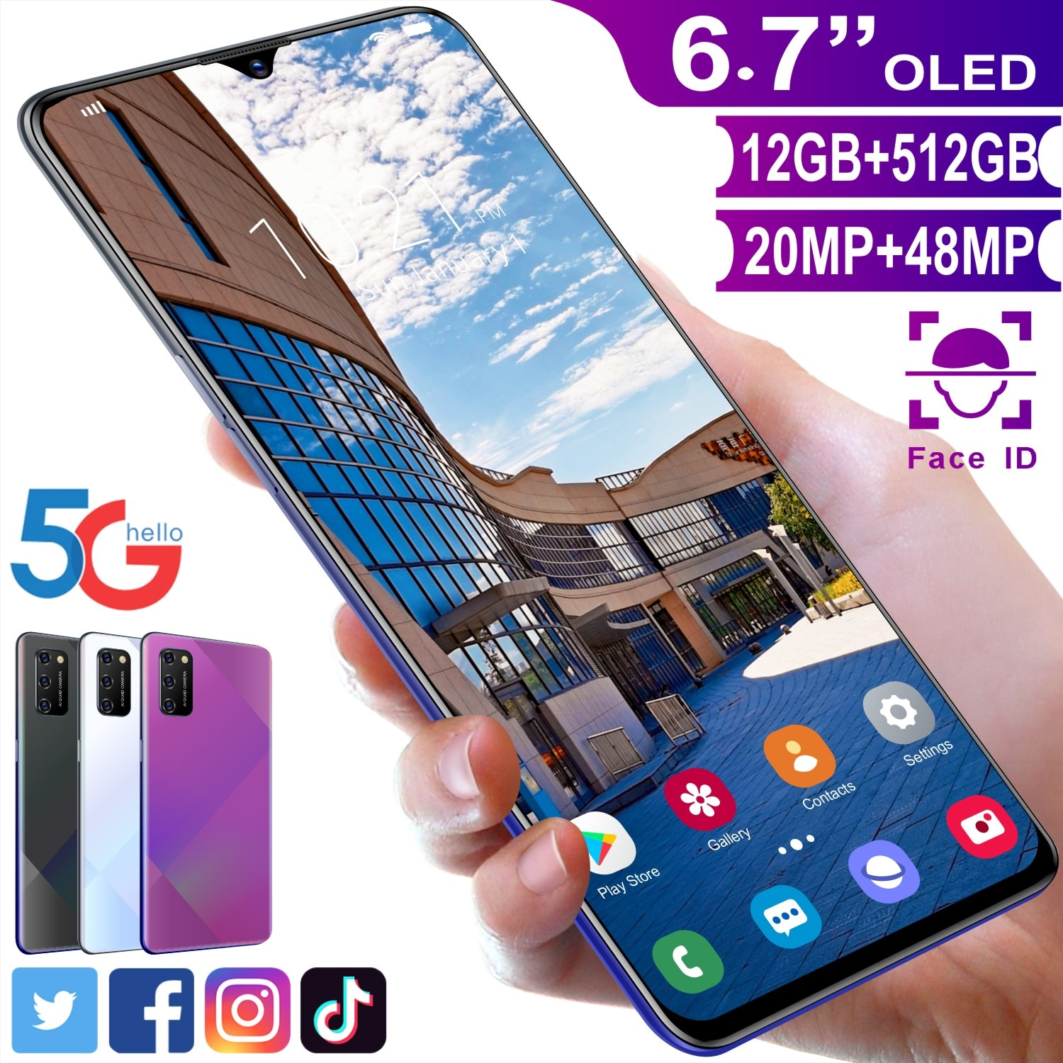 Global Version NoteS20 Pro Mobile Phones 6.7Inch 5000mAh Smartphones 12+512GB ROM Full Screen Face Unlocked Cell Phones